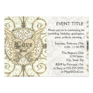 All You Need is Love with Angel Wings Heart Custom Invitation