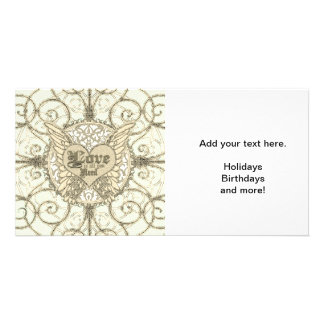 All You Need is Love with Angel Wings & Heart Photo Card