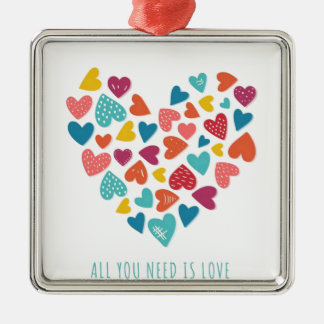 all you need IS love You only needs love Silver-Colored Square Ornament