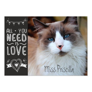 "All You Need is Pet Love 5"" X 7"" Invitation Card"