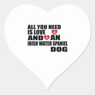 All You Need Love IRISH WATER SPANIEL Dogs Designs Heart Sticker