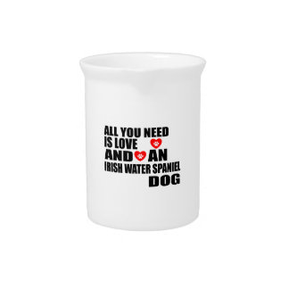 All You Need Love IRISH WATER SPANIEL Dogs Designs Pitcher