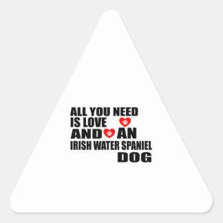 All You Need Love IRISH WATER SPANIEL Dogs Designs Triangle Sticker