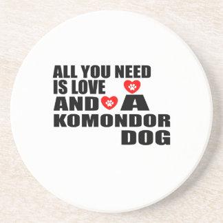 All You Need Love KOMONDOR Dogs Designs Coaster