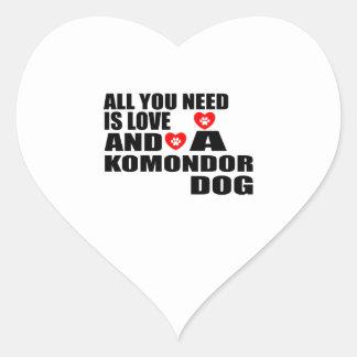 All You Need Love KOMONDOR Dogs Designs Heart Sticker