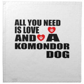 All You Need Love KOMONDOR Dogs Designs Napkin