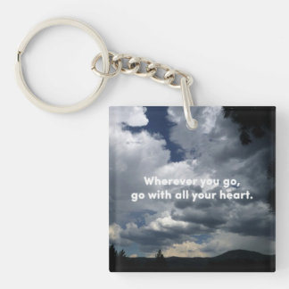 All Your Heart - Confucius Quote and Nature Photo Keychain
