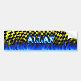 Allan blue fire and flames bumper sticker design
