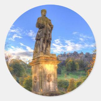 Allan Ramsey And Edinburgh Castle Scotland Round Sticker