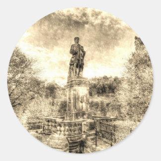 Allan Ramsey And Edinburgh Castle Vintage Round Sticker