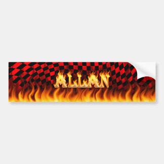 Allan real fire and flames bumper sticker design
