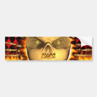 Allan skull real fire and flames bumper sticker de