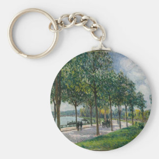 Allée of Chestnut Trees - Alfred Sisley Basic Round Button Keychain