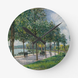 Allée of Chestnut Trees - Alfred Sisley Round Clock