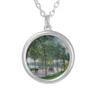Allée of Chestnut Trees - Alfred Sisley Silver Plated Necklace
