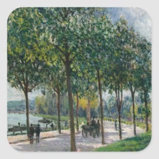 Allée of Chestnut Trees - Alfred Sisley Square Sticker
