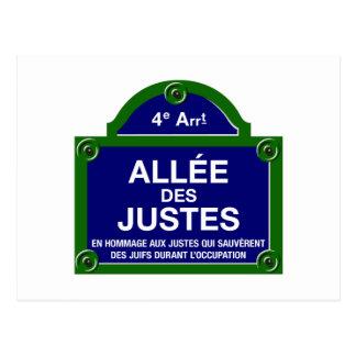 Allée des Justes, Paris Street Sign Postcard