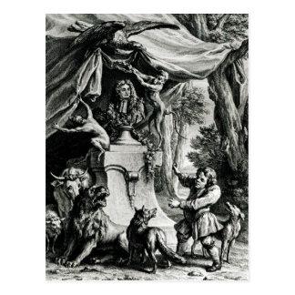 Allegorical portrait of Jean de La Fontaine Postcard