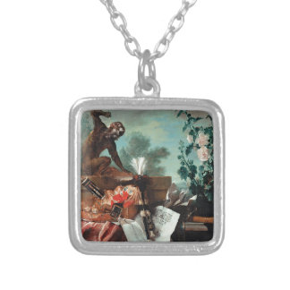 Allegory of Air by Jean-Baptiste Oudry Square Pendant Necklace