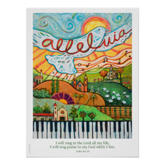 Alleluia Musical poster for classroom or choir