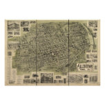 Allentown Pennsylvania 1901 Antique Panoramic Map Poster
