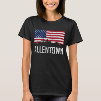 Allentown Pennsylvania Skyline American Flag Distr T-Shirt