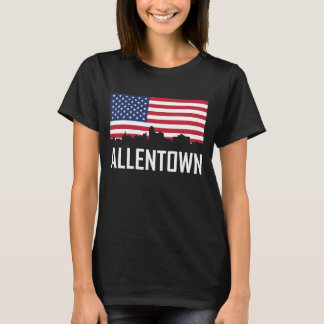 Allentown Pennsylvania Skyline American Flag T-Shirt