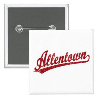 Allentown script logo in red button