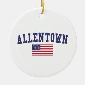 Allentown US Flag Ceramic Ornament