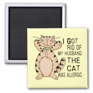 Allergic Cat Square Magnet