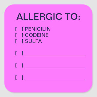 Allergies Medical Chart Labels