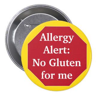 Allergy Alert:  No Gluten 3 Inch Round Button