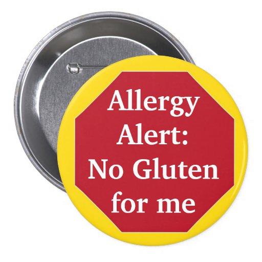 Allergy Alert:  No Gluten Pinback Buttons
