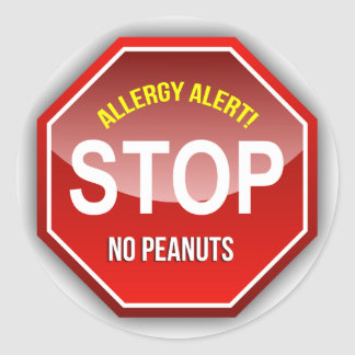Allergy Alert : No Peanuts Please! Classic Round Sticker