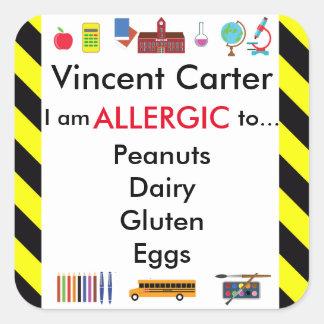 Allergy Alert Sticker for School Child's Desk