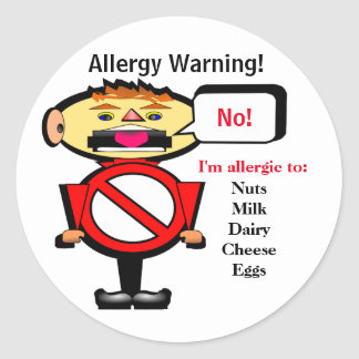 Allergy Alert Warning Label Round Sticker