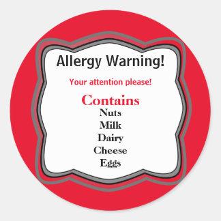 Allergy Warning Label Round Sticker