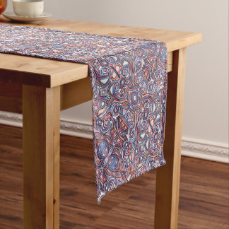 Alley Cat-Abstract Hand Painted Print Pattern Short Table Runner