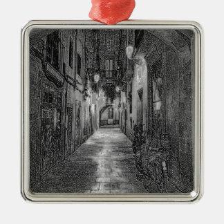 Alley Silver-Colored Square Ornament