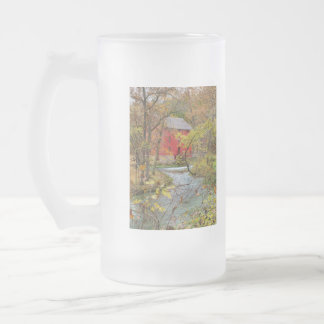 Alley Through The Woods Frosted Glass Beer Mug