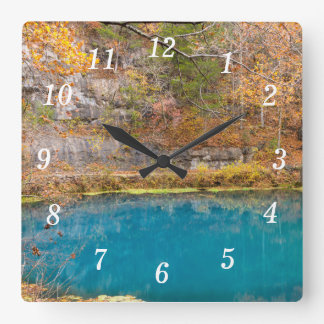 Alleys Blue Spring Square Wall Clock
