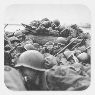 Allied World War II Soldiers Crossing the Rhine Square Sticker