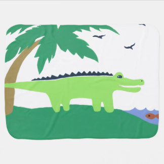 Alligator Baby Blanket, Matches Safari Sky, Cute Receiving Blanket