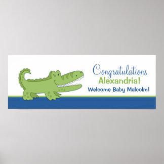 Alligator Banner Poster Print - Blue/Green