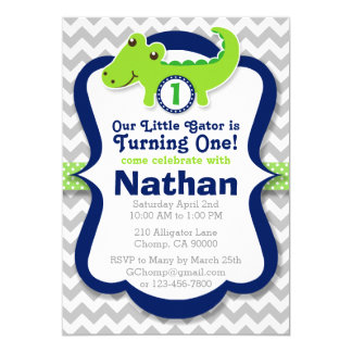 Alligator Birthday Invitation - Birthday Boy Gator