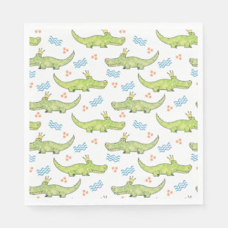 Alligator Birthday Paper Napkin, Luncheon Napkin