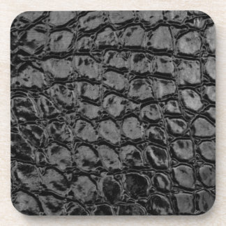 Alligator Black Faux Leather Coaster