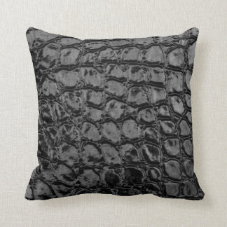 Alligator Black Faux Leather Throw Pillow
