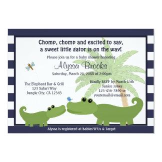 Alligator Blue striped baby shower invitation AMP