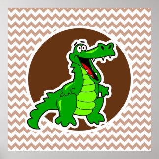 Alligator Brown Chevron Affiches